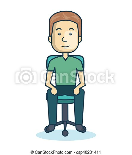 cartoon guy sitting on chair design isolated vector clip art rh canstockphoto ca clipart sitting room sitting clipart