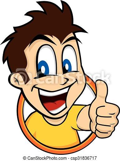 cartoon guy thumbs up character vector illustration vector clip art rh canstockphoto com