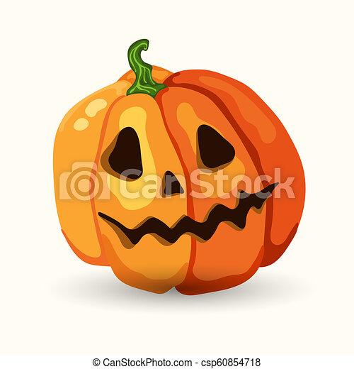 Halloween Pumpkin Cartoon Images.Cartoon Halloween Scary Face Pumpkin On White