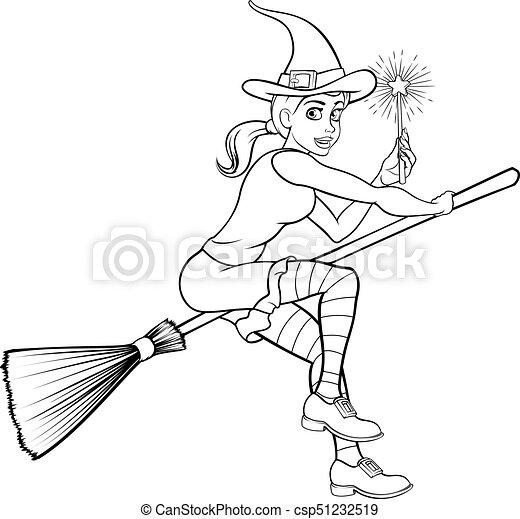 Cartoon Halloween Witch and Magic Wand - csp51232519