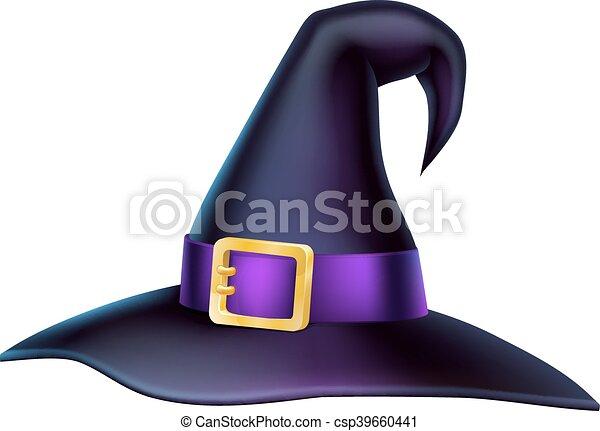 Cartoon Halloween Witch Hat - csp39660441