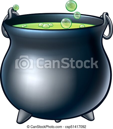 Cartoon Halloween Witch Magic Cauldron - csp51417092