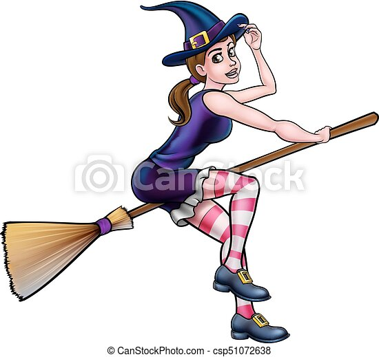 Cartoon Halloween Witch On Broomstick - csp51072638