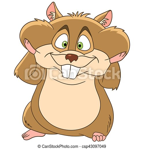 cute and happy cartoon hamster animal with full cheeks isolated on