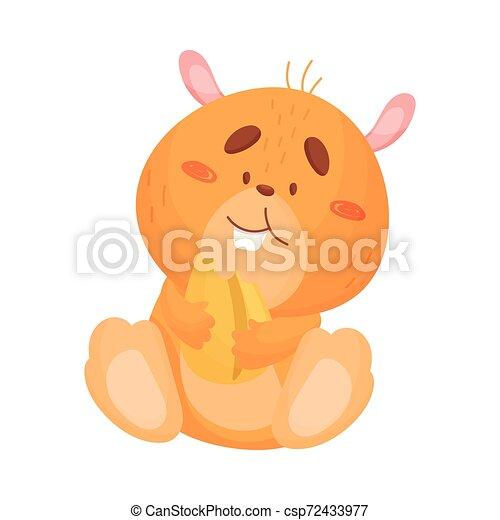 Cartoon hamster eats grain. Vector illustration on white background. - csp72433977