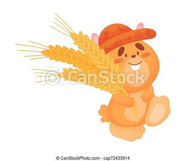 Cartoon hamster with ears of wheat. Vector illustration on white background. - csp72433914