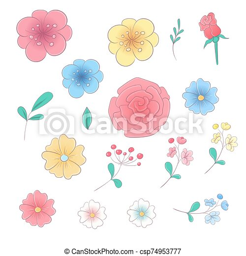 Cartoon hand drawing set of flowers and leaves. Vector illustration - csp74953777