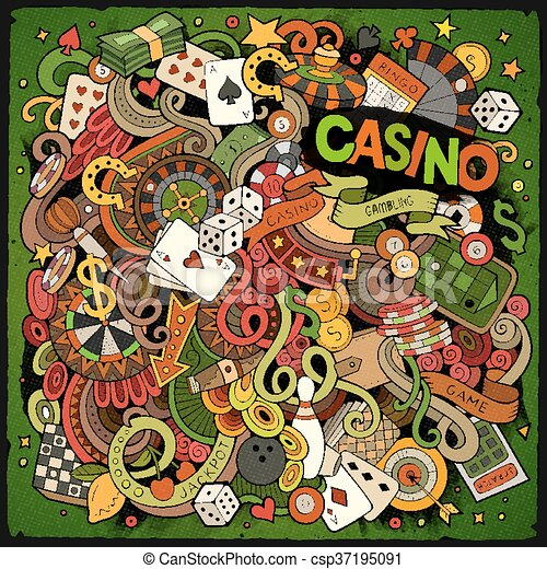 Cartoon hand-drawn doodles casino, gambling illustration - csp37195091