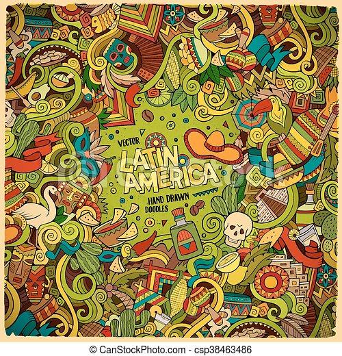 Cartoon hand-drawn doodles Latin American frame - csp38463486