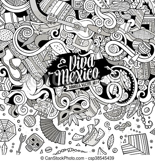 Cartoon hand-drawn doodles Latin American frame - csp38545439