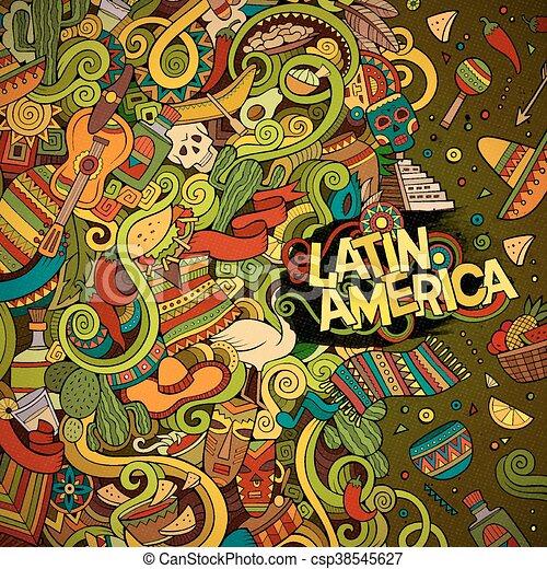 Cartoon hand-drawn doodles Latin American frame - csp38545627