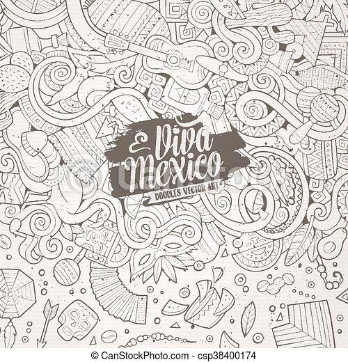 Cartoon hand-drawn doodles Latin American frame - csp38400174