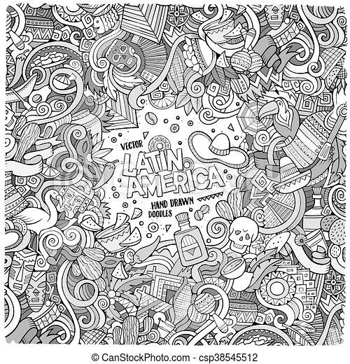 Cartoon hand-drawn doodles Latin American frame - csp38545512