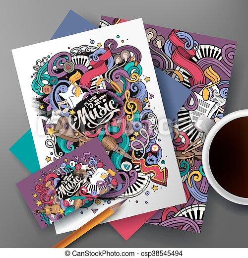 cartoon hand drawn doodles musical identity cartoon cute colorful
