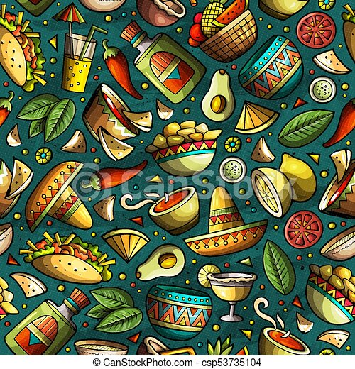 Cartoon hand-drawn latin american, mexican seamless pattern - csp53735104