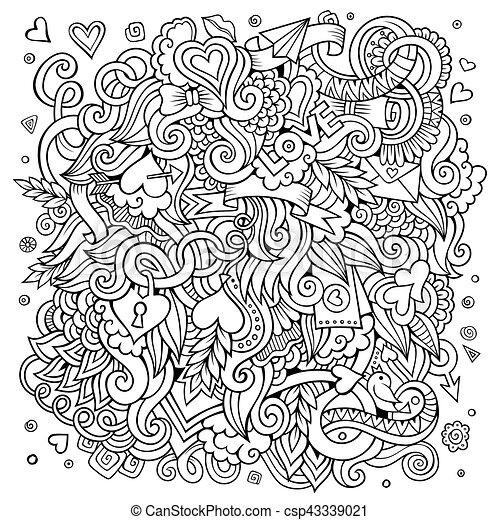 Cartoon hand-drawn Love Doodles. Sketchy design background - csp43339021