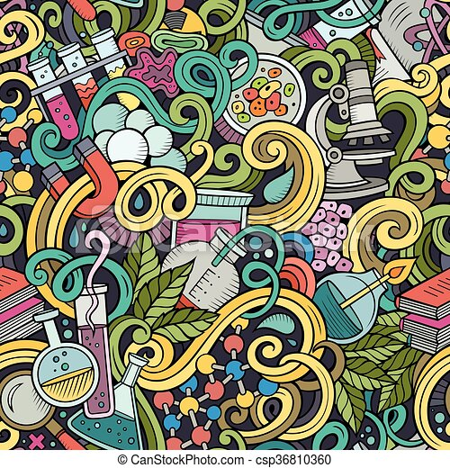 Cartoon hand-drawn science doodles seamless pattern - csp36810360