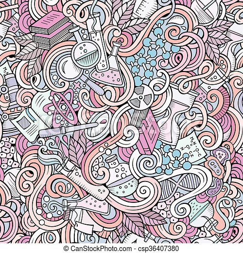 Cartoon hand-drawn science doodles seamless pattern - csp36407380