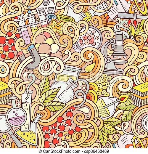Cartoon hand-drawn science doodles seamless pattern - csp36468489