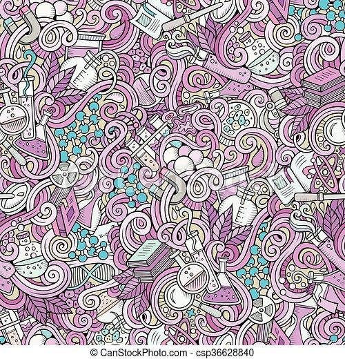 Cartoon hand-drawn science doodles seamless pattern - csp36628840