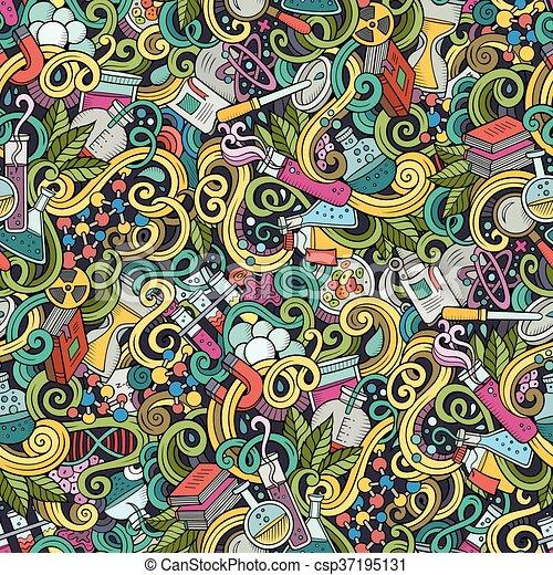Cartoon hand-drawn science doodles seamless pattern - csp37195131