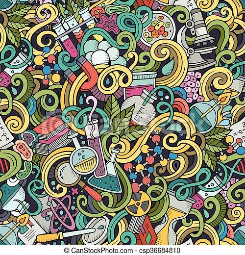 Cartoon hand-drawn science doodles seamless pattern - csp36684810