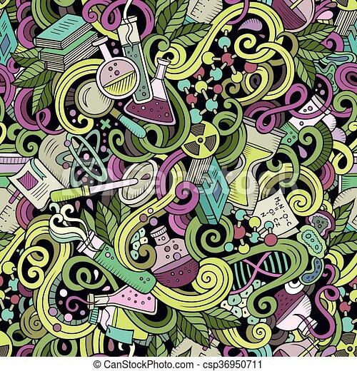 Cartoon hand-drawn science doodles seamless pattern - csp36950711