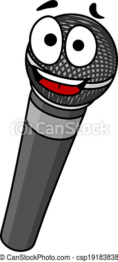 Cartoon handheld microphone with a happy smile and big ...