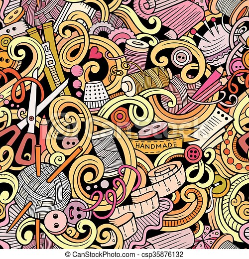 Cartoon handmade and sewing doodles seamless pattern - csp35876132