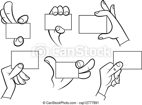 Cartoon hands holding card csp12777891