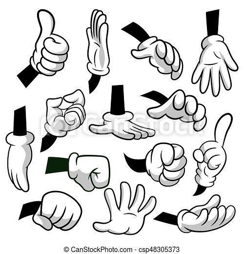 cartoon hands with gloves icon set isolated on white background rh canstockphoto com cartoon hands vector free download cartoon hand drawn vector