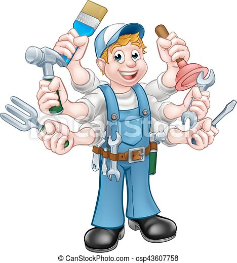Cartoon Handyman - csp43607758