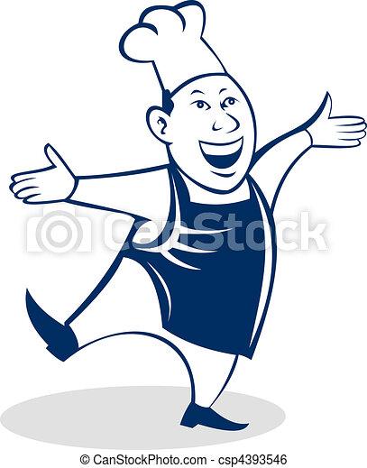 Cartoon Happy Asian chef cook baker - csp4393546