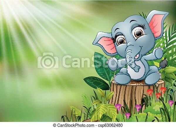 Cartoon Happy Baby Elephant Sitting On Tree Stump With Green Plants