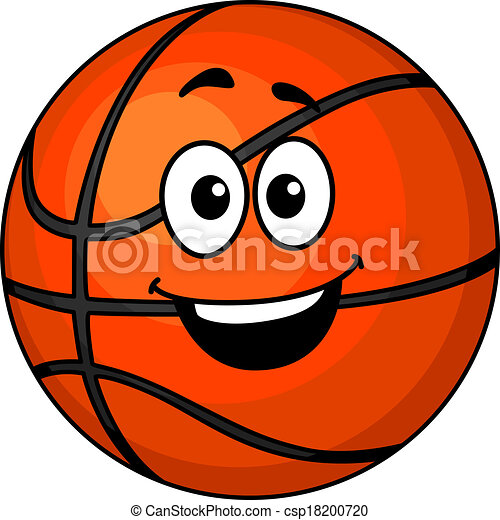 cartoon happy basketball ball with a big smile and googly eyes