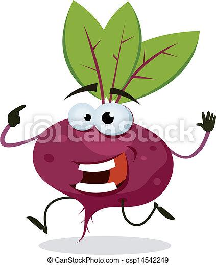 Cartoon Happy Beet Character - csp14542249