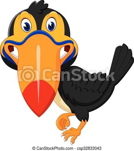 Cartoon happy bird toucan  - csp32833043