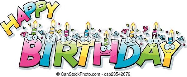 cartoon happy birthday text a cartoon illustration of the text