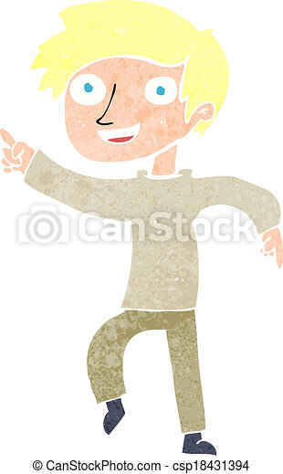 cartoon happy boy pointing - csp18431394