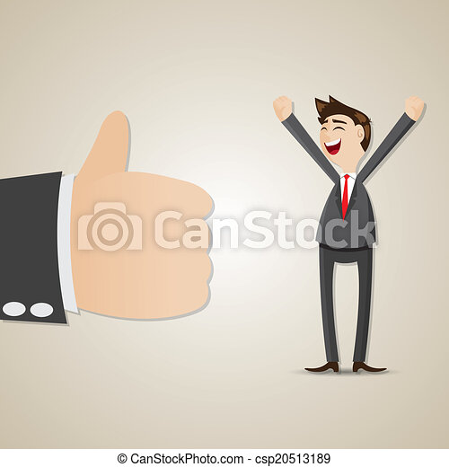 cartoon happy businessman with thumb up - csp20513189