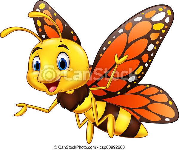 Cartoon happy butterfly isolated on white background - csp60992660