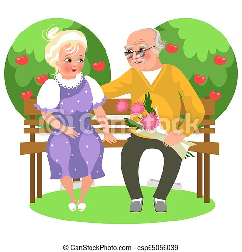 Astounding Cartoon Happy Couple Sitting In Garden On Bench Evergreenethics Interior Chair Design Evergreenethicsorg