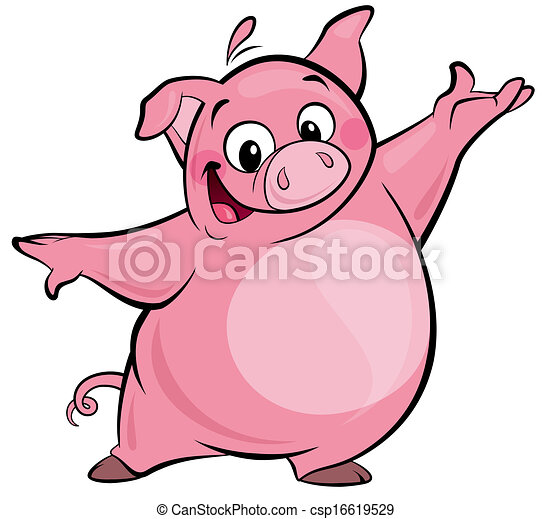 cartoon happy cute pink pig character presenting cartoon clip rh canstockphoto com cute pig clipart black and white cute pig clipart black and white