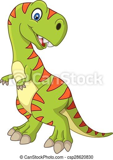 Cartoon happy dinosaur - csp28620830