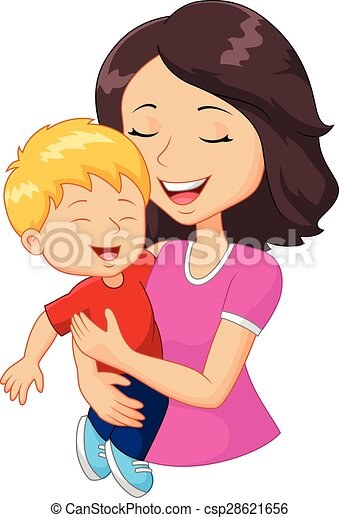 Cartoon happy family mother holding - csp28621656