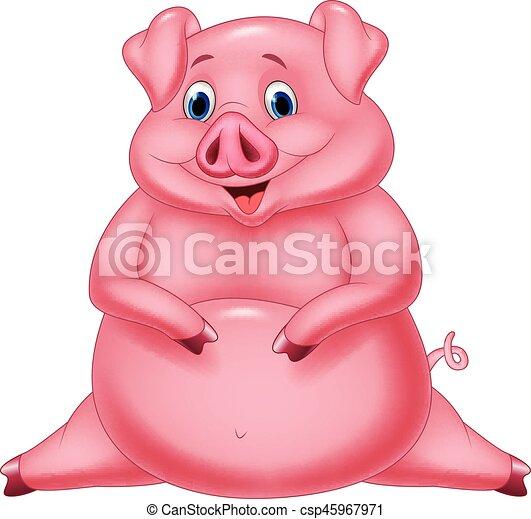 vector illustration of cartoon happy fat pig rh canstockphoto com fat pink pig cartoon fat pink pig cartoon