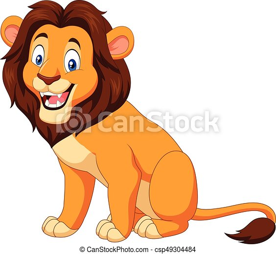 Vector Illustration Of Cartoon Happy Lion Sitting