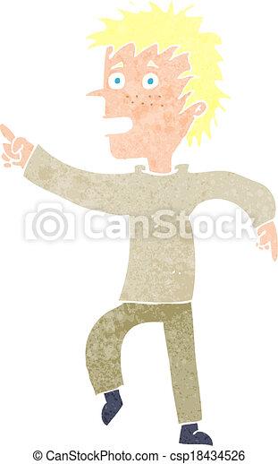 cartoon happy man pointing - csp18434526