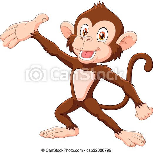 Cartoon Happy monkey presenting  - csp32088799