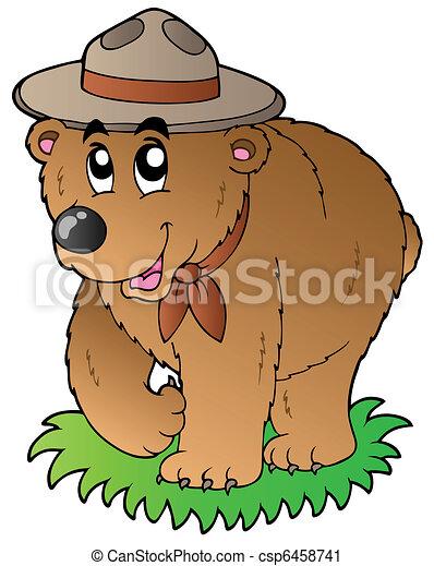 Cartoon happy scout bear - csp6458741